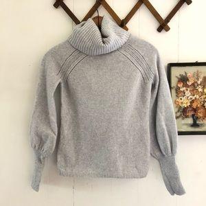 Grey Wool Angora Cashmere Blend Turtleneck Sweater